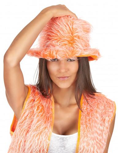 Oranger Plüsch-Hut für Erwachsene-1