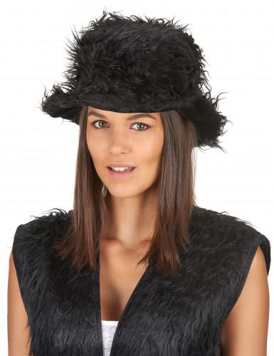 Schwarzer Plüsch-Hut für Erwachsene-1