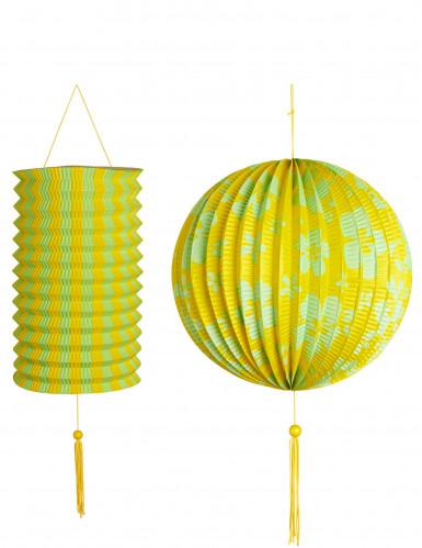 2 gelbe und grüne Hawaii-Laternen