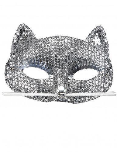 Silberne Katzen Augenmaske mit Pailletten für Erwachsene