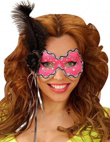 Rosa Augenmaske mit schwarzer Feder
