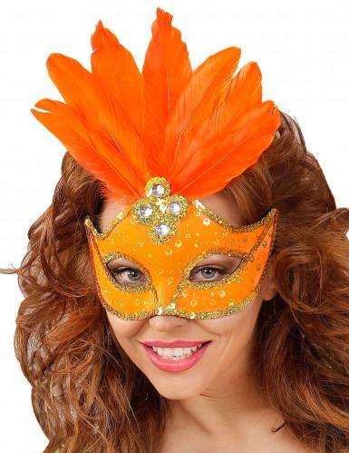 Orange Augenmaske mit Federn für Erwachsene