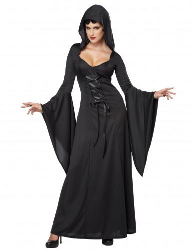 Dämonisches Hexen-Kostüm für Damen Halloween Vampirin schwarz