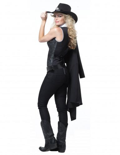 Sheriff Cowgirl Kostüm für Damen schwarz-1