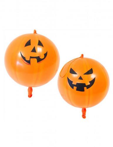 2 Kürbis Luftballons Halloween orange 44 cm