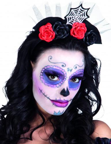 Gruseliger Haarreif mit Rosen für Halloween rot-schwarz-weiß