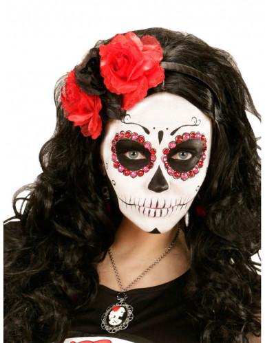 Haarreif mit rot-schwarzen Blumen-1