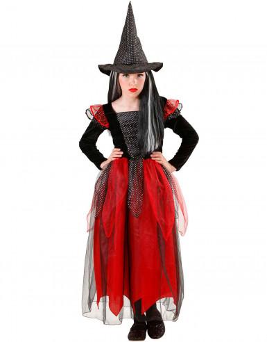 Verschleiert in schwarz und rot - Halloween Kostüm Hexe für Mädchen