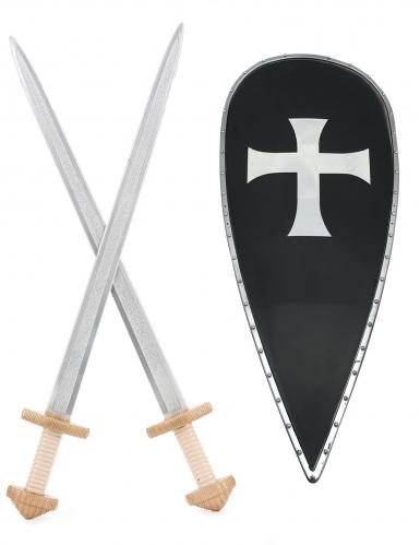 Kreuzritter-Set mit 2 Schwertern & Schild für Kinder