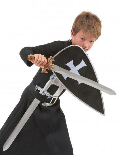 Schwarzes Ritter-Kostüm mit Accessoires für Kinder
