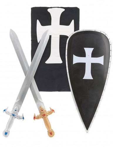 Schwarzes Ritter-Kostüm mit Accessoires für Kinder-1