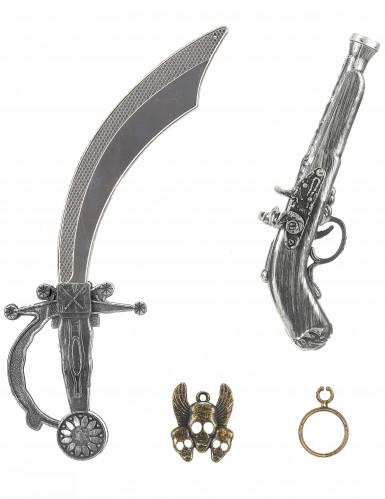 Piratenset für Kinder - Schwert Pistole Anhänger und Ohrring-2