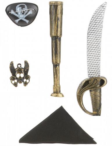 Piratenset für Kinder - Schwert Fernglas Bandana Anhänger und Augenklappe