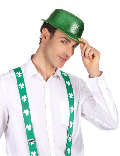 Grüner Glitzer-Hut Melone für Erwachsene an St. Patrick's Day-1