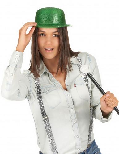 Grüner Glitzer-Hut Melone für Erwachsene an St. Patrick's Day-2