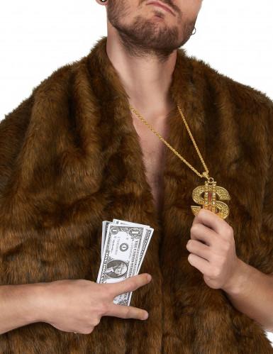Goldene Halskette aus Metall mit einem Dollarzeichen für Erwachsene-1