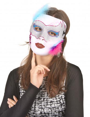 Weiß schimmernde Maske für Erwachsene-1