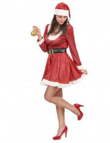 Weihnachtsfrau Kostüm mit Glitzer-1