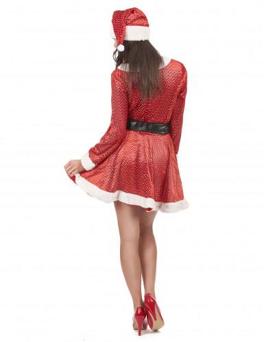 Weihnachtsfrau Kostüm mit Glitzer-2