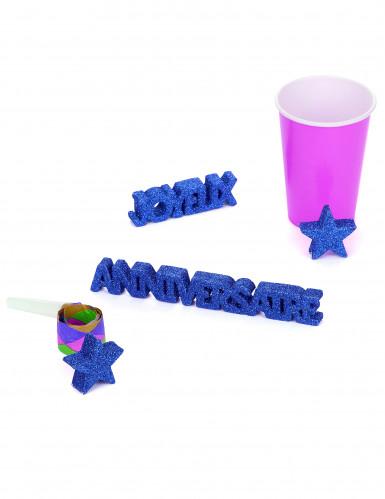 Tischdekoration Geburtstag, dunkelblau, glitzernd-1