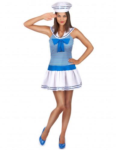 Matrosen-Kostüm in weiß-blau für Damen