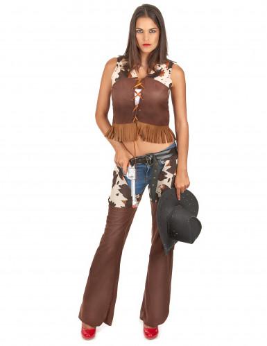 Sexy Cowgirl Kostüm für Damen braun-weiss