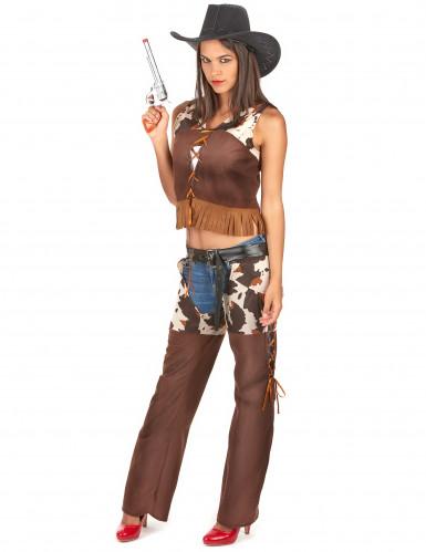 Sexy Cowgirl Kostüm für Damen braun-weiss-1