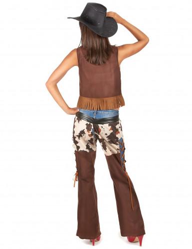 Sexy Cowgirl Kostüm für Damen braun-weiss-2
