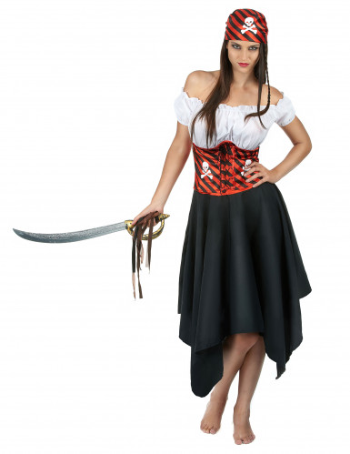 Piratinnenkostüm für Damen schwarz-weiss-rot