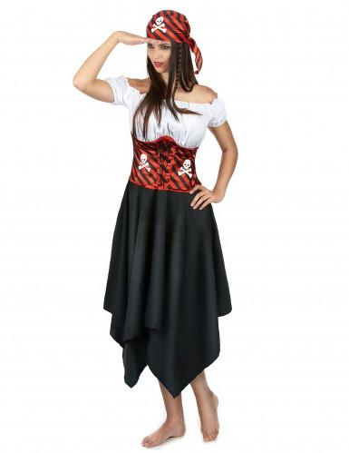 Piratinnenkostüm für Damen schwarz-weiss-rot-1
