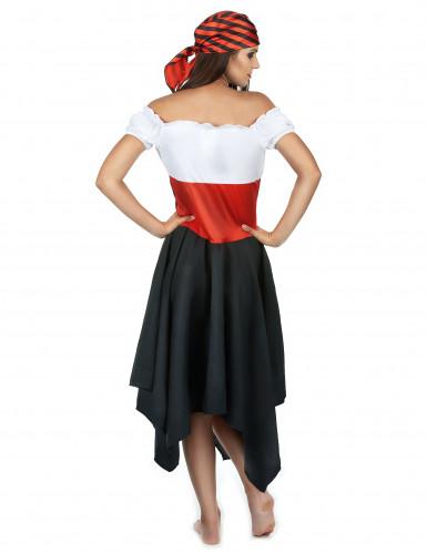 Piratinnenkostüm für Damen schwarz-weiss-rot-2