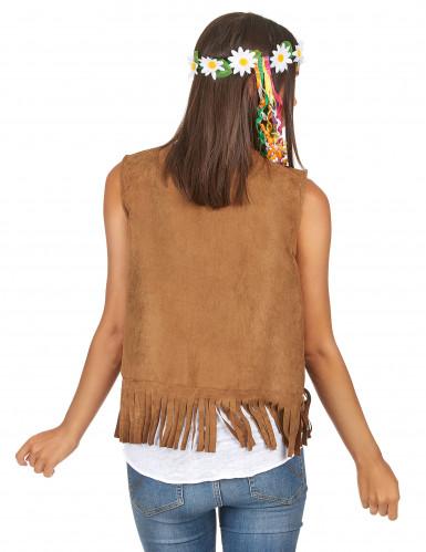Hippie Weste für Damen braun 55 cm-1