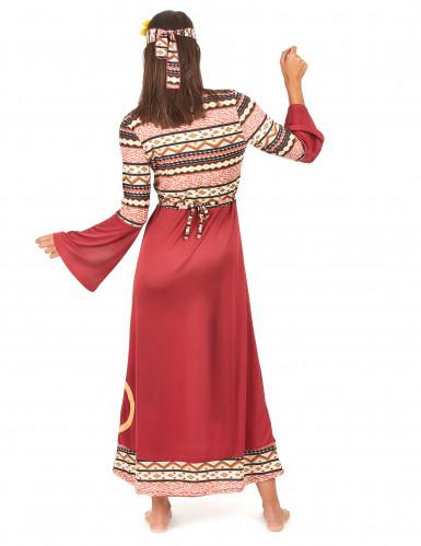 Hippiekostüm für Frauen bordeauxfarben-2