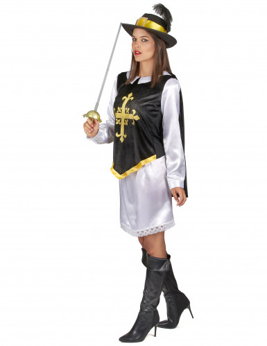 Musketier Kostüm für Damen mit schwarzem Hut-1