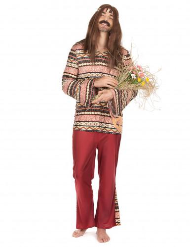 Hippie-Kostüm für Herren - bordeauxfarben