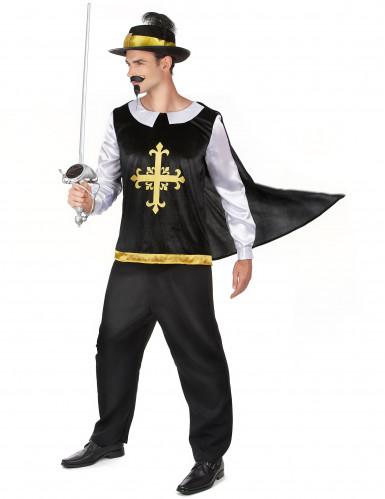 Musketier Kostüm für Herren mit schwarzem Hut-1