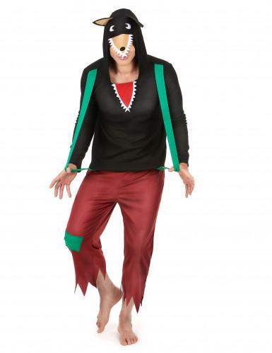 Böser Wolf Kostüm für Herren Märchen schwarz-braun-grün