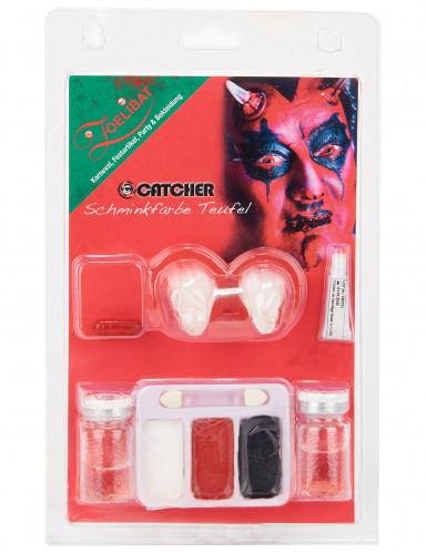 Dämon Make-Up-Set mit Kontaktlinsen-1
