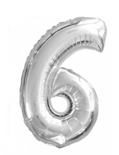 Silberner Ballon Ziffer 6