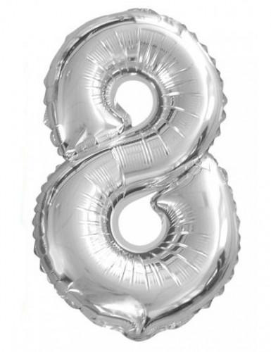 Silberner Ballon Ziffer 8