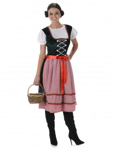 Bayerisches Dirndl Kostüm für Damen rot kariert