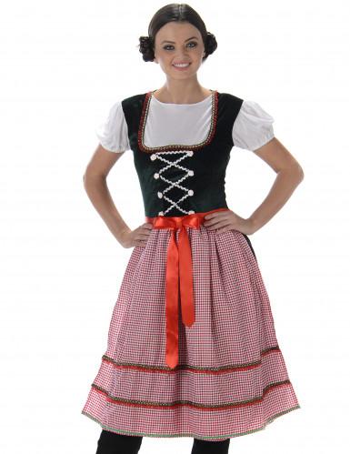 Bayerisches Dirndl Kostüm für Damen rot kariert-1