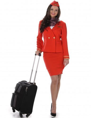 Stewardess Kostüm für Damen in rot