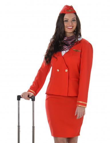 Stewardess Kostüm für Damen in rot-1