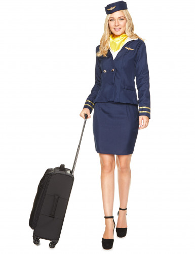 Stewardess Kostüm für Damen in blau