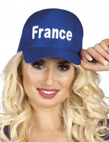 Blaue France Schirmmütze für Erwachsene