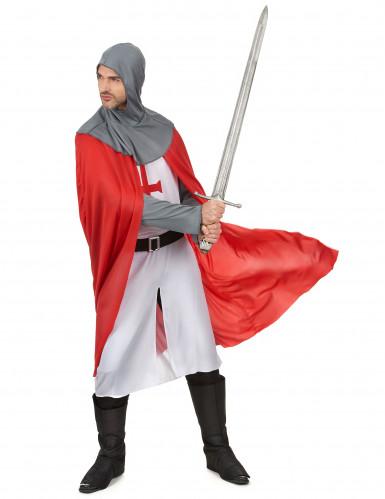 Kreuzritter Kostüm für Herren grau-rot-weiss-1