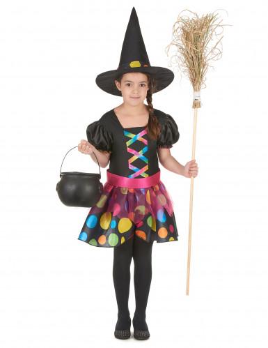 Magisches Hexen Kostüm für Mädchen schwarz-bunt