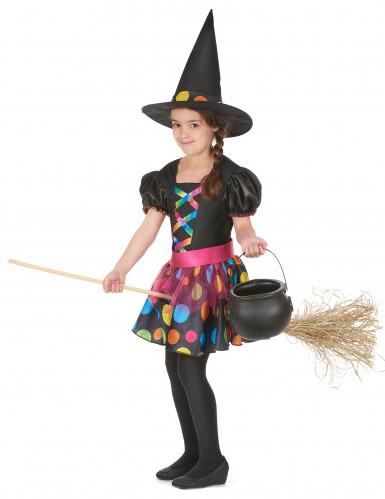 Magisches Hexen Kostüm für Mädchen schwarz-bunt-1