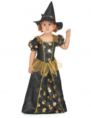 Schwarz-gold Hexen Kostüm